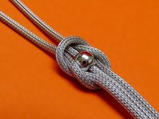 """Picture of """"Bead with Love Knot"""" necklace in Italian sterling silver - faux lariat"""