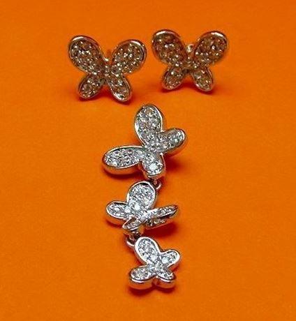 """Afbeelding van """"Vlinder"""" set van hangertje en oorknopjes in sterling zilver en kubiek zirkonia"""