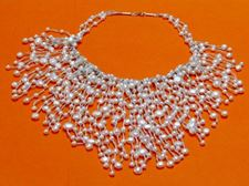 "Picture of ""Cascade of pearls"" bib necklace in white cultured pearls with silver"