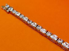 "Picture of ""Classic Zirconia"" tennis bracelet in sterling silver with round and square cubic zirconia"