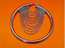 "Picture of ""Diamond Cut Beads"" Italian hoops (large), earrings in sterling silver with chains of diamond cut beads"