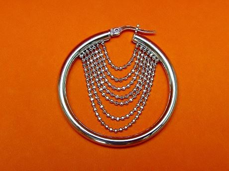 "Picture of ""Diamond Cut Beads"" Italian hoops (medium), earrings in sterling with chains of diamond cut beads"