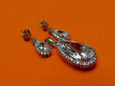"Picture of ""Drop"" set of pendant and dangle drop earrings in sterling silver with a large crystal framed by CZ"