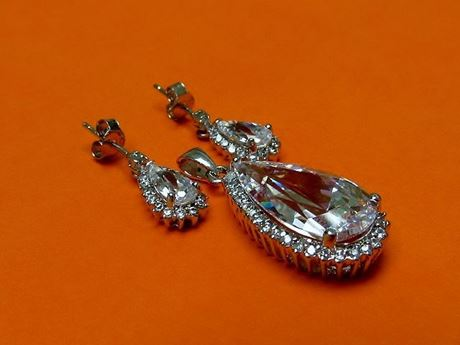 """Picture of """"Drop"""" set of pendant and dangle drop earrings in sterling silver with a large crystal framed by CZ"""