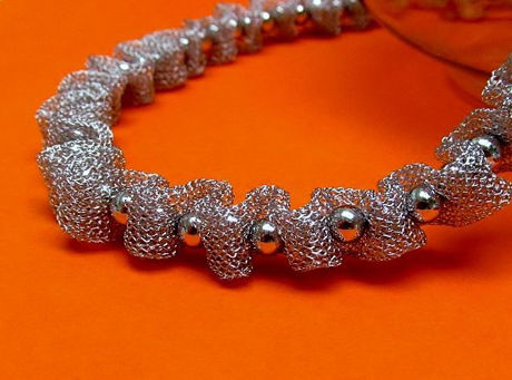 "Picture of ""Fancy Net"" set of necklace and bracelet in sterling silver, mesh interspersed with polished round beads"