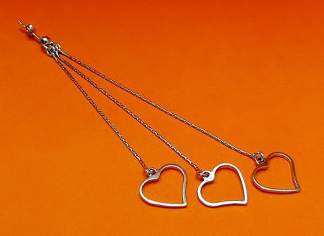 "Picture of ""Hearts"" Italian dangle earrings entirely in sterling silver with small chains finished with an open heart"