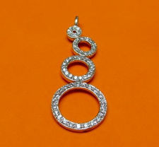 """Picture of """"Zirconia circles"""" pendant in sterling silver with off-center circles encrusted with round cubic zirconia"""