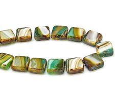 Image de 10x10 mm, perles carrées plates tchèques, rayées brun-turquoise-lavande