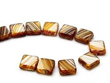 Picture of 10x10 mm, flat square Czech beads, striped cream-caramel-brown, opaque, travertine