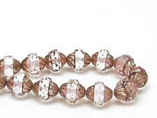 Picture of 11x10 mm, turbine, Czech beads, topaz pink brown, silvery pink crystal encircled