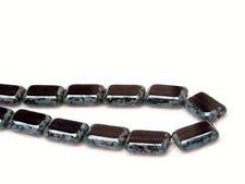 Image de 12x8 mm, perles rectangulaires plates tchèques, noir améthyste, translucide, picasso