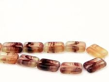 Picture of 12x8 mm, flat rectangular Czech beads, cream, transparent, amethyst purple waves