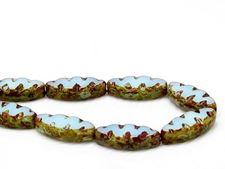 Image de 18x7 mm, sculpté, perles fusiformes plates tchèques, bleu opale turquoise, opaque, picasso, 6 pièces