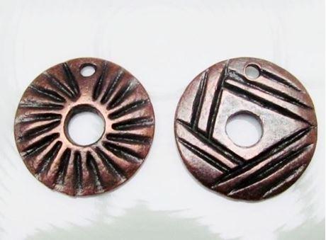 Picture of 28x28 mm, sunbeams, pendant, Zamak, copper-plated