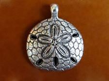 Picture of 31x37 mm, sand dollar, pendant, Zamak, silver-plated