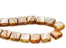 Afbeelding van 10x10 mm, platte vierkante Tsjechische kralen, wit-oranje-grijs gestreept, ondoorzichtig, travertin