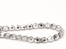 Picture of 6x6 mm, Czech faceted round beads, transparent, white smoke grey luster, half tone silver mirror