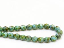 Picture of 6x6 mm, Czech faceted round beads, turquoise blue, opaque, green picasso