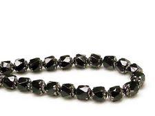 Image de 8x6 mm, cathédrale, perles tchèques, noires, opaques, bords argentés
