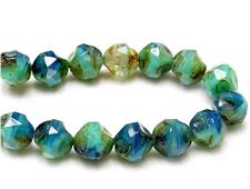 Picture of 8x8 mm, central cut, Czech beads, blue & green-blue, travertine