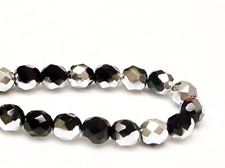 Picture of 8x8 mm, Czech faceted round beads, black, opaque, half tone silver mirror