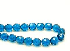 Picture of 8x8 mm, Czech faceted round beads, deep sky blue, transparent