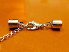Image de Fermoir avec embouts de cordon, 6 mm, cuivre plaqué rhodium, 3 pièces