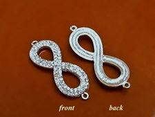 Picture of Connector, eternity sign, rhodium-plated, pavé crystal