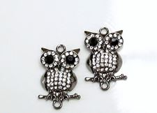 Picture of Connector, owl, gunmetal-plated, pavé crystal