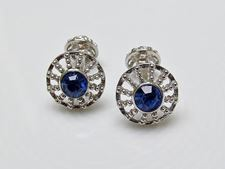 Picture of Cufflinks, round, royal blue crystal, silver-plated filigree