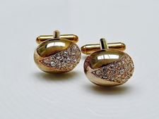 Picture of Cufflinks, oval, dome, transparent crystals in widget, gold-plated