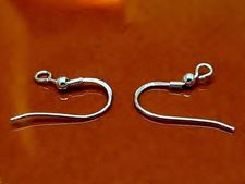 Picture of French hook ear wires with coil and ball, 10x20 mm, sterling silver, 1 pair