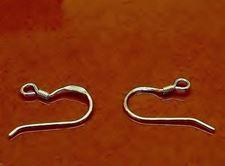 Picture of French hook ear wires, 10x20 mm,  with coil, sterling silver, 1 pair
