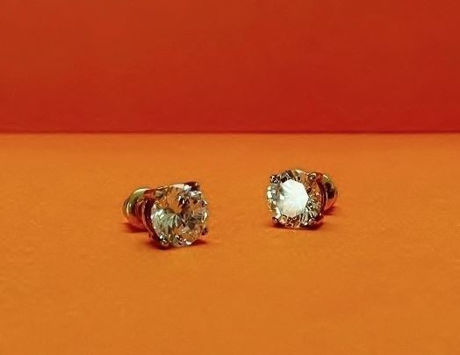 "Picture of ""Brilliant"" cut modern stud earrings, sterling silver, white gold-plated, round cubic zirconia, medium, 7 mm"