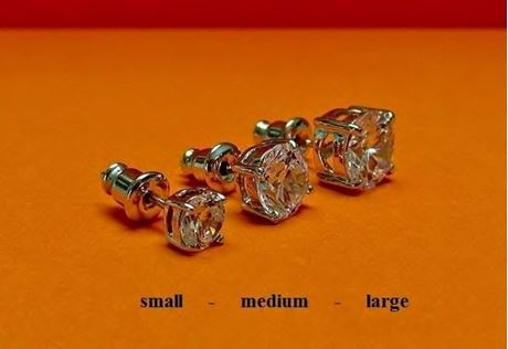 """Afbeelding van Oorknopjes in """"briljant slijpvorm"""", sterling zilver, ronde kubiek zirkonia, medium, 7.7 mm"""