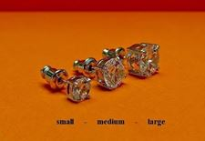 "Picture of ""Brilliant cut"" modern stud earrings, sterling silver, round cubic zirconia, small, 5 mm"