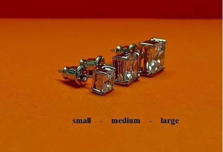 "Afbeelding van Oorknopjes in ""princess slijpvorm"", sterling zilver, vierkante kubiek zirkonia, medium, 7.7 mm"