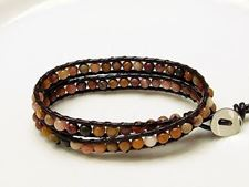 Picture of Wrap bracelet, gemstone beads, Mookaite Windalia Radiolarite,