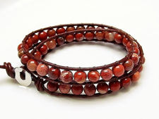 Picture of Wrap bracelet, gemstone beads, new poppy jasper