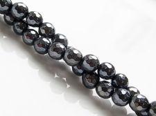 Image de 6x6 mm, perles rondes, pierres gemmes, onyx, noir, en facettes, lustre métallique