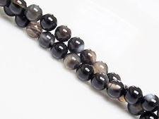 Image de 6x6 mm, perles rondes, pierres gemmes, agate à rayures naturelle, brun fumé profond