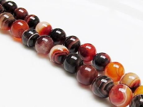 Picture of 10x10 mm, round, gemstone beads, natural striped agate, black and Peru brown
