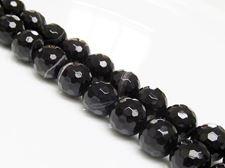 Image de 10x10 mm, perles rondes, pierres gemmes, agate à rayures naturelle, noire, à facettes