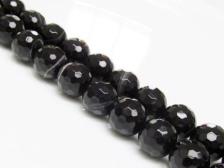 Afbeelding van 10x10 mm, rond, edelsteen kralen, natuurlijke gestreepte agaat, zwart, in facetten