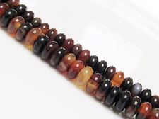 Picture of 4x8 mm, rondelle, gemstone beads, natural striped agate, black and red brown