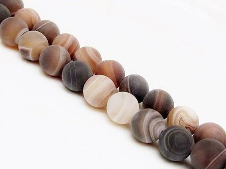 Picture of 10x10 mm, round, gemstone beads, natural striped agate, caramel to deep brown, frosted
