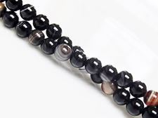 Picture of 6x6 mm, round, gemstone beads, natural striped agate, black