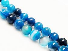 Picture of 6x6 mm, round, gemstone beads, natural striped agate, blue