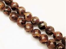 Picture of 10x10 mm, round, gemstone beads, agate, Tibetan style, brown and white