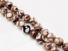 Image de 10x10 mm, perles rondes, pierres gemmes, agate craquelée, beige, style tibétain, points blancs et bruns
